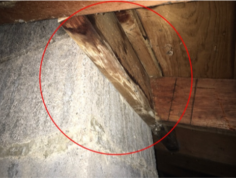 Chimney chase and roof leak in attic, home maintenance schedule, home inspector