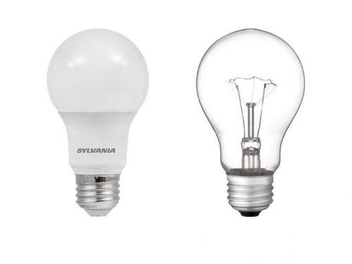 Sylvania 800 lumen LED 8.5 watt light bulb vs 60 watt Westinghouse incandescent 830 lumen light bulb